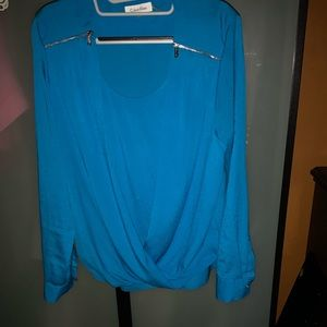 Simple blue Calvin Klein blouse with zipper acc
